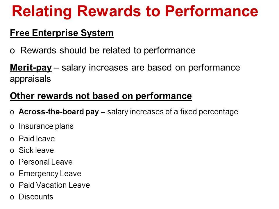 Relating Rewards to Performance