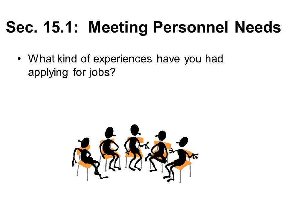 Sec. 15.1: Meeting Personnel Needs