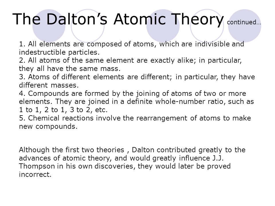 The Dalton's Atomic Theory continued…