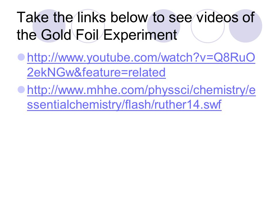 Take the links below to see videos of the Gold Foil Experiment