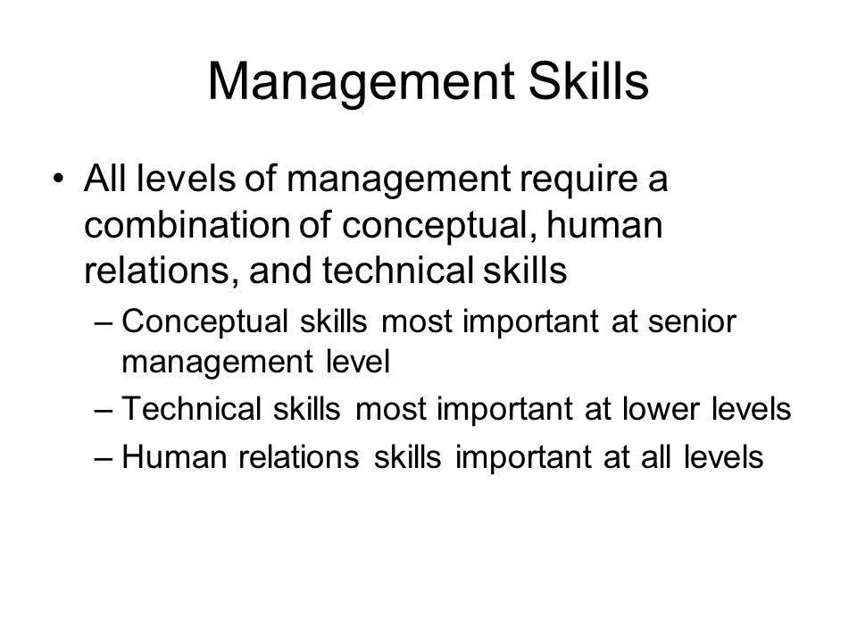 Management Skills All levels of management require a combination of conceptual, human relations, and technical skills.