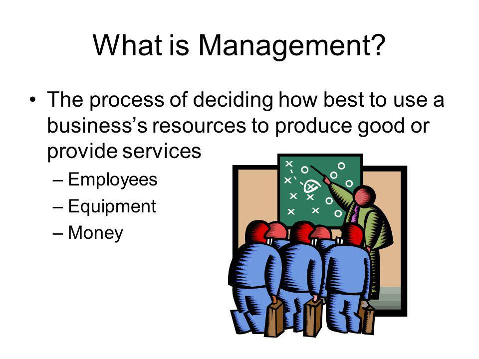 What is Management The process of deciding how best to use a business's resources to produce good or provide services.