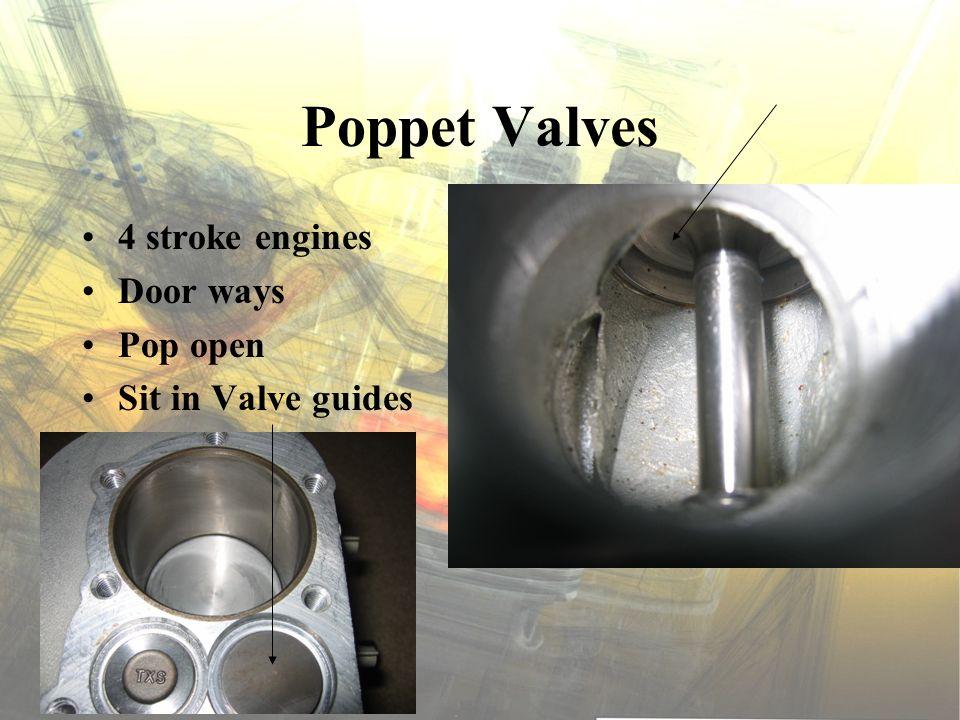 Poppet Valves 4 stroke engines Door ways Pop open Sit in Valve guides
