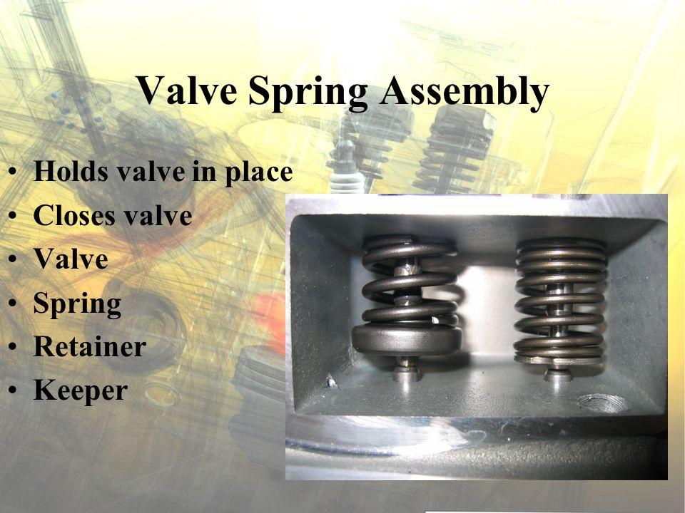 Valve Spring Assembly Holds valve in place Closes valve Valve Spring