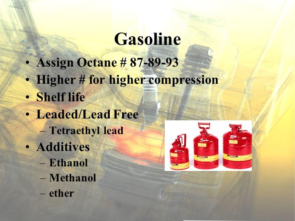 Gasoline Assign Octane # 87-89-93 Higher # for higher compression