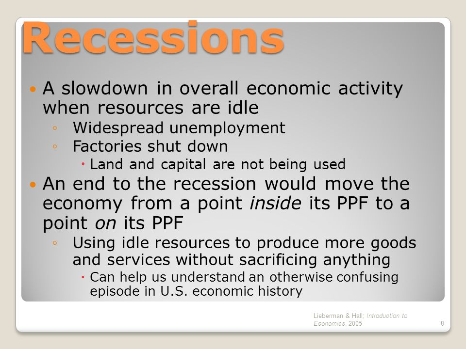 Recessions A slowdown in overall economic activity when resources are idle. Widespread unemployment.