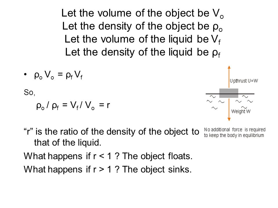Let the volume of the object be Vo Let the density of the object be ρo Let the volume of the liquid be Vf Let the density of the liquid be ρf