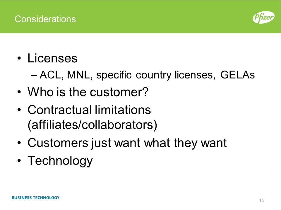 Contractual limitations (affiliates/collaborators)