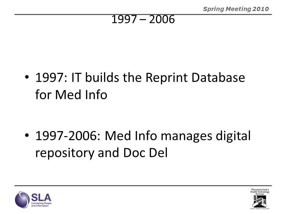 1997: IT builds the Reprint Database for Med Info