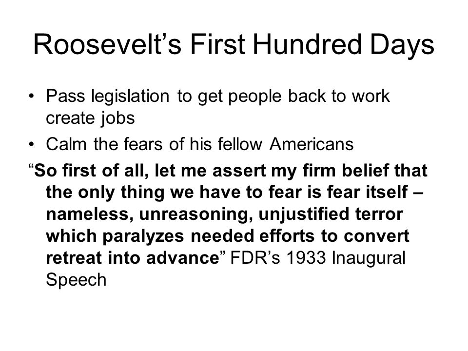 Roosevelt's First Hundred Days