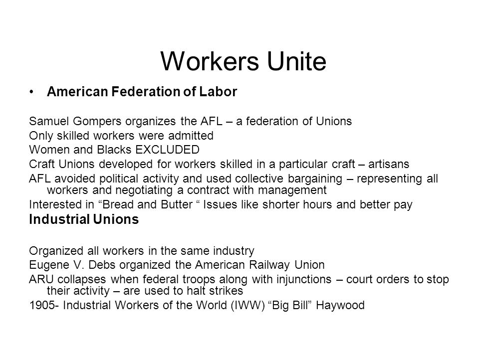 Workers Unite American Federation of Labor Industrial Unions