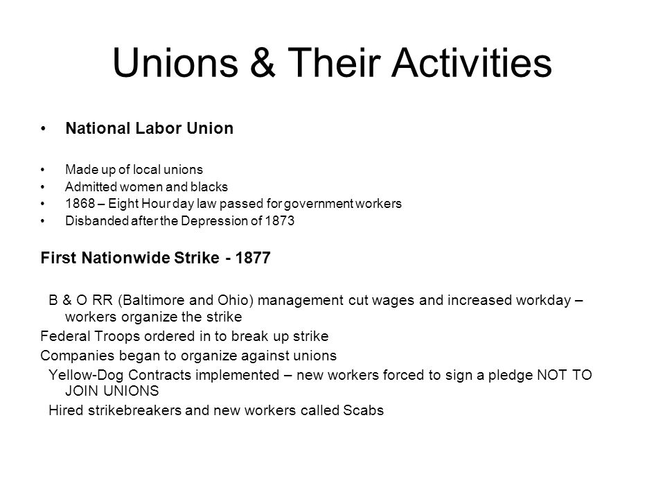 Unions & Their Activities