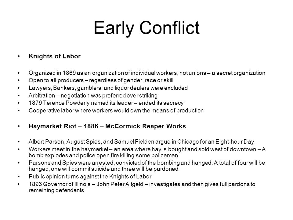 Early Conflict Knights of Labor