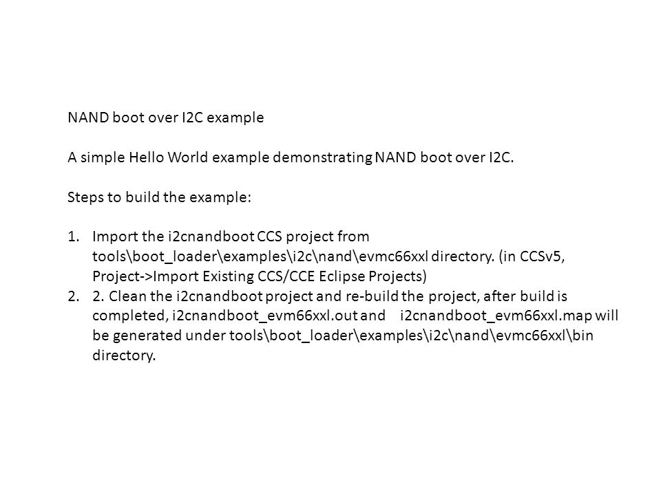 NAND boot over I2C example