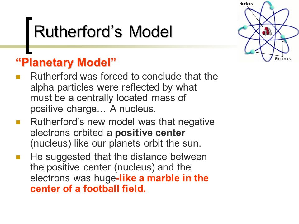 Rutherford's Model Planetary Model