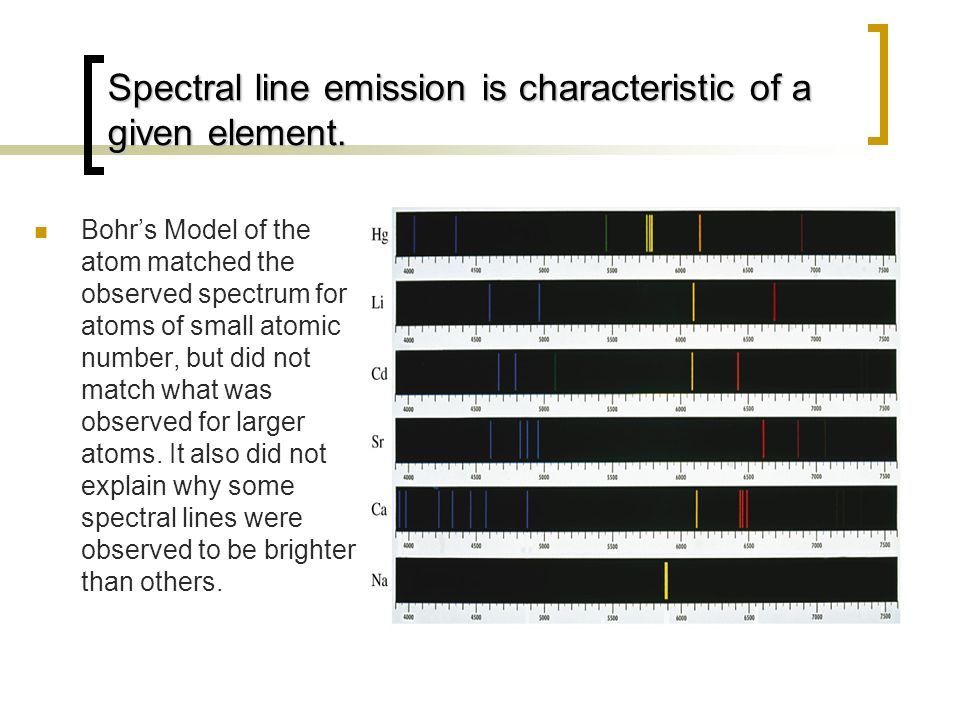 Spectral line emission is characteristic of a given element.