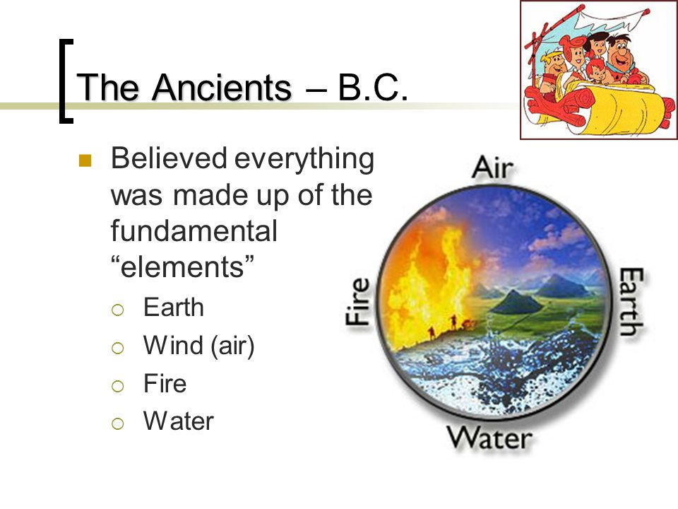 The Ancients – B.C. Believed everything was made up of the fundamental elements Earth. Wind (air)