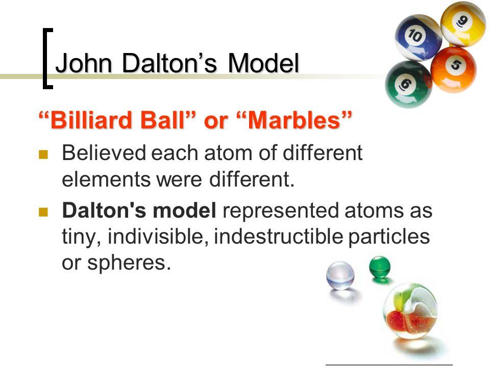 John Dalton's Model Billiard Ball or Marbles