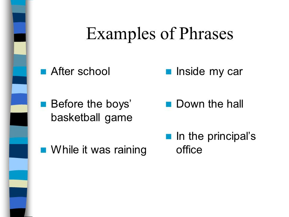 Examples of Phrases After school Before the boys' basketball game