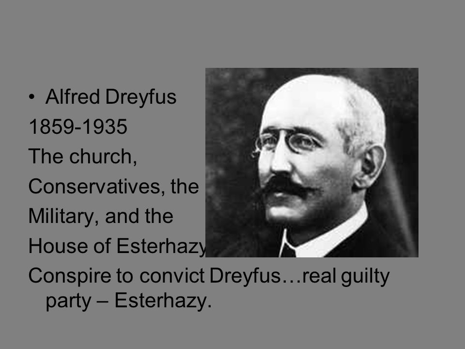 Alfred Dreyfus 1859-1935. The church, Conservatives, the. Military, and the. House of Esterhazy.