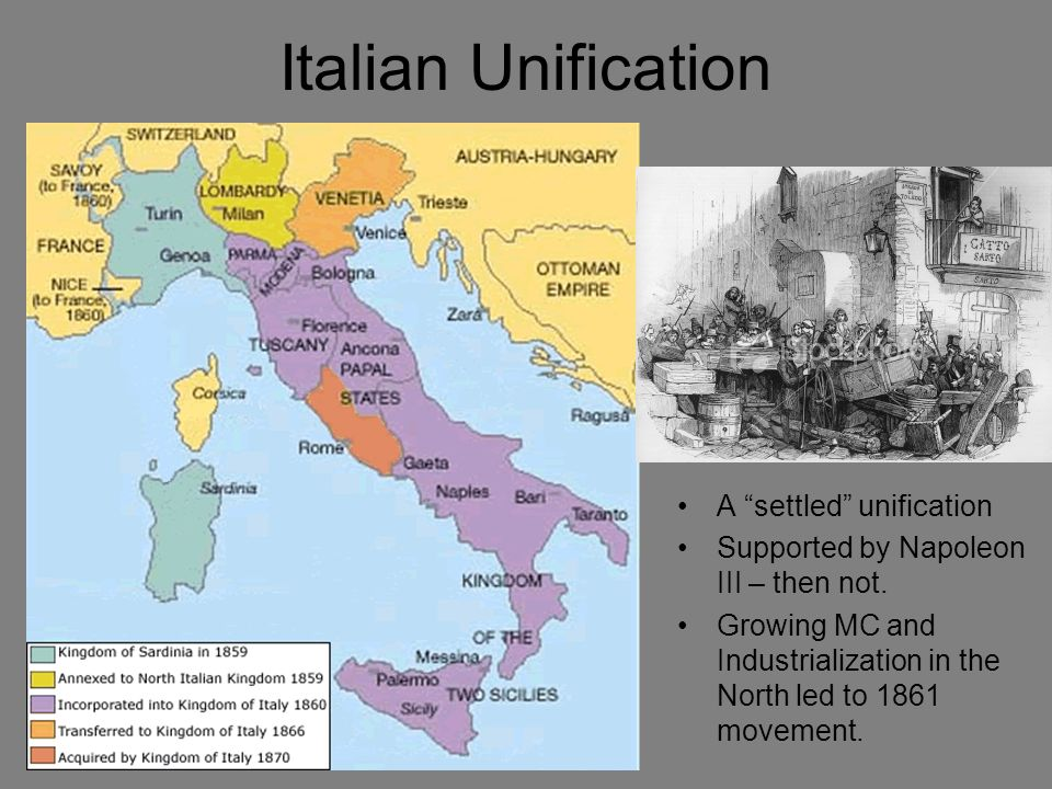 Italian Unification A settled unification