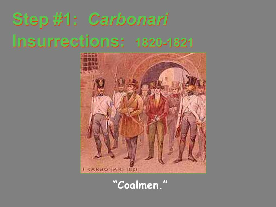 Step #1: Carbonari Insurrections: 1820-1821
