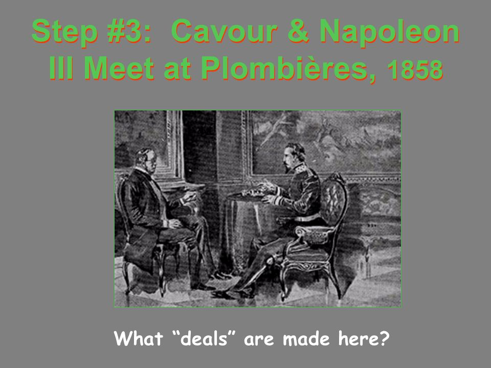 Step #3: Cavour & Napoleon III Meet at Plombières, 1858