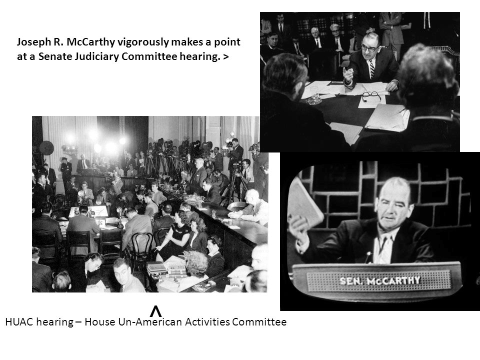 Joseph R. McCarthy vigorously makes a point at a Senate Judiciary Committee hearing. >