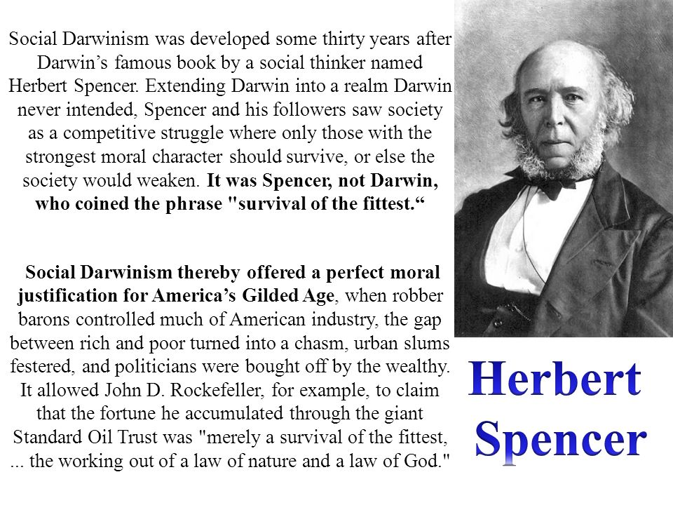 Social Darwinism was developed some thirty years after Darwin's famous book by a social thinker named Herbert Spencer. Extending Darwin into a realm Darwin never intended, Spencer and his followers saw society as a competitive struggle where only those with the strongest moral character should survive, or else the society would weaken. It was Spencer, not Darwin, who coined the phrase survival of the fittest.