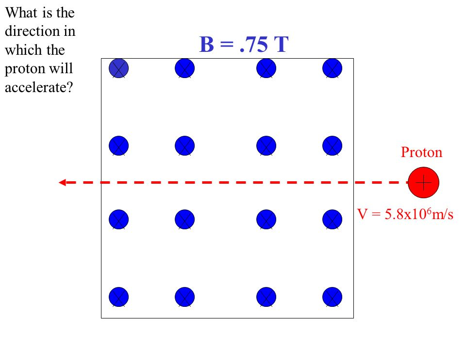 B = .75 T What is the direction in which the proton will accelerate