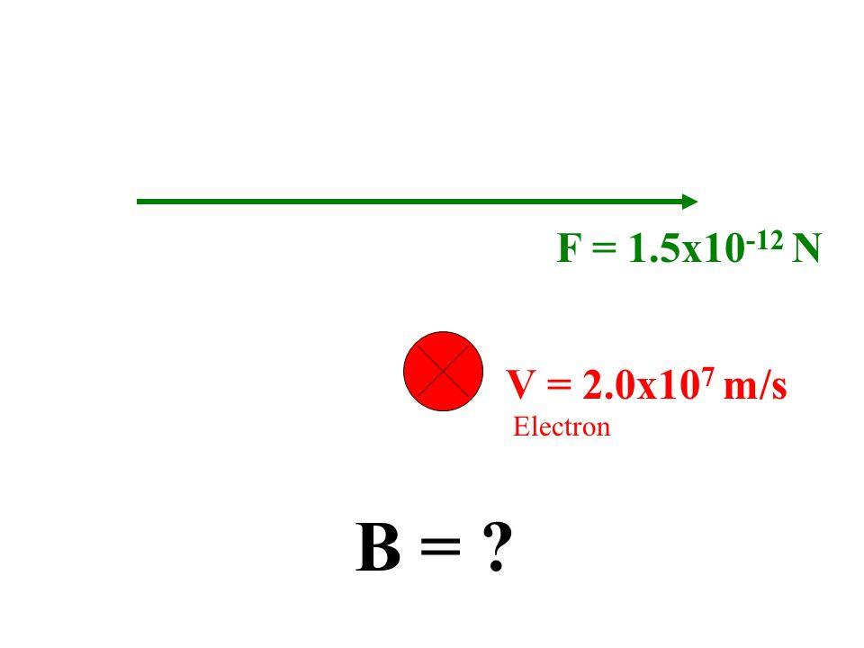 F = 1.5x10-12 N V = 2.0x107 m/s Electron B =