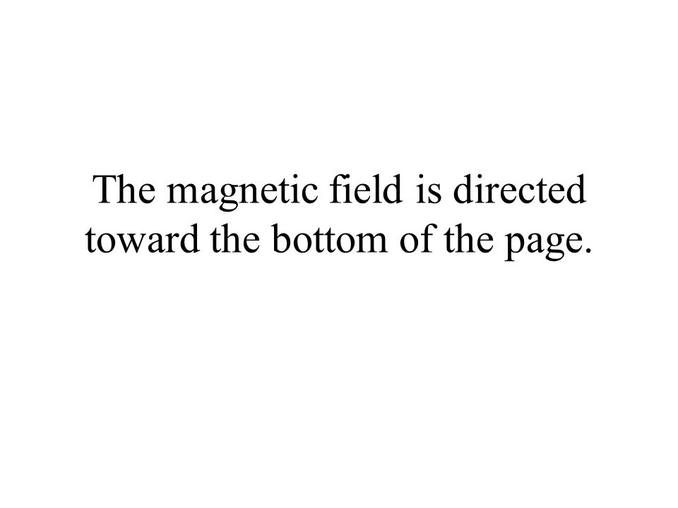 The magnetic field is directed toward the bottom of the page.