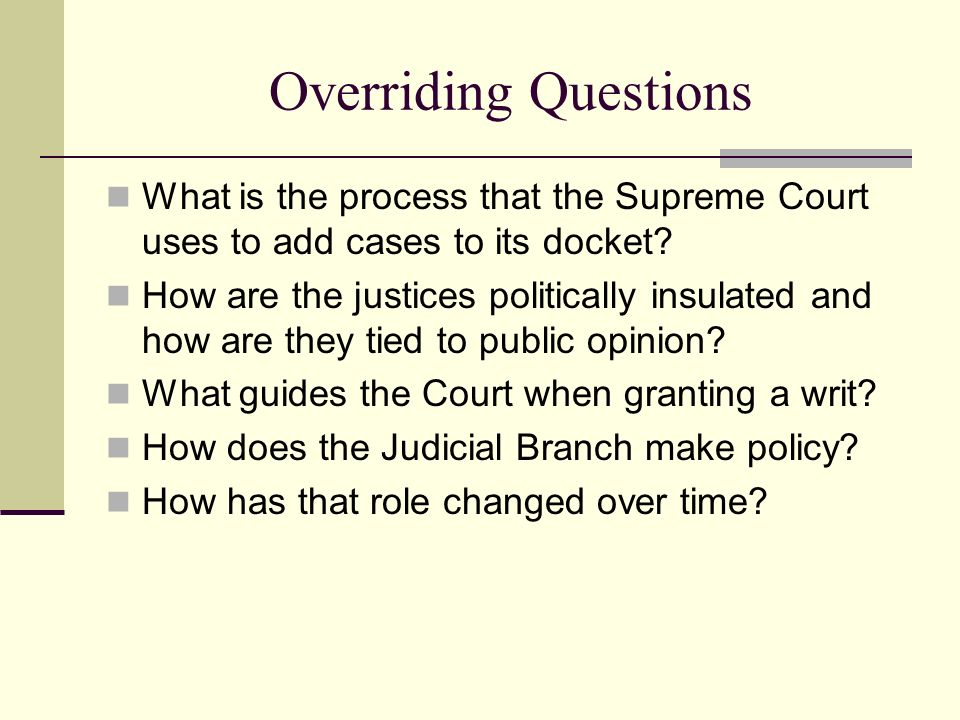 Overriding Questions What is the process that the Supreme Court uses to add cases to its docket