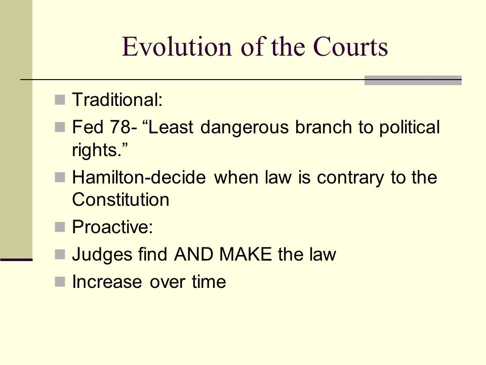 Evolution of the Courts