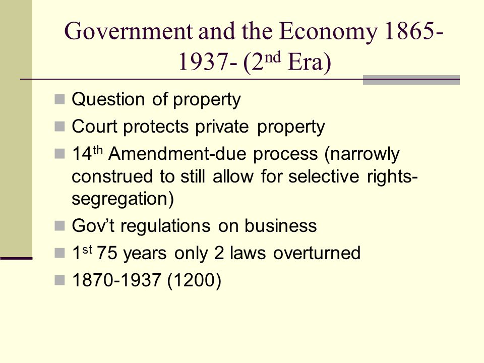 Government and the Economy 1865-1937- (2nd Era)