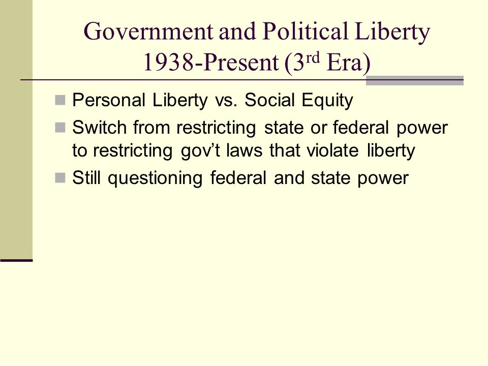 Government and Political Liberty 1938-Present (3rd Era)