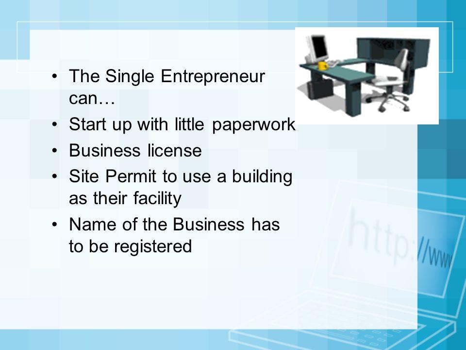 The Single Entrepreneur can…