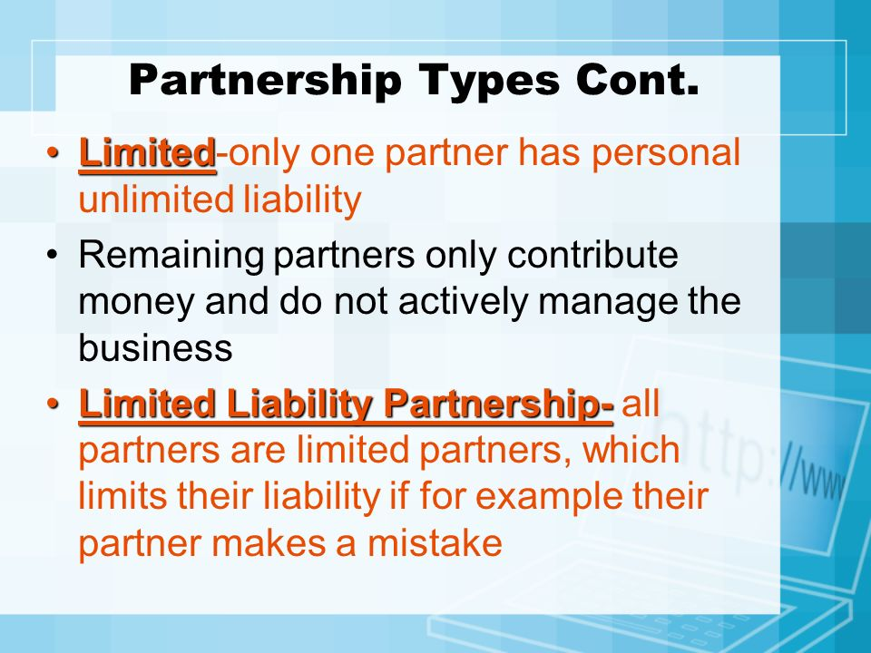 Partnership Types Cont.