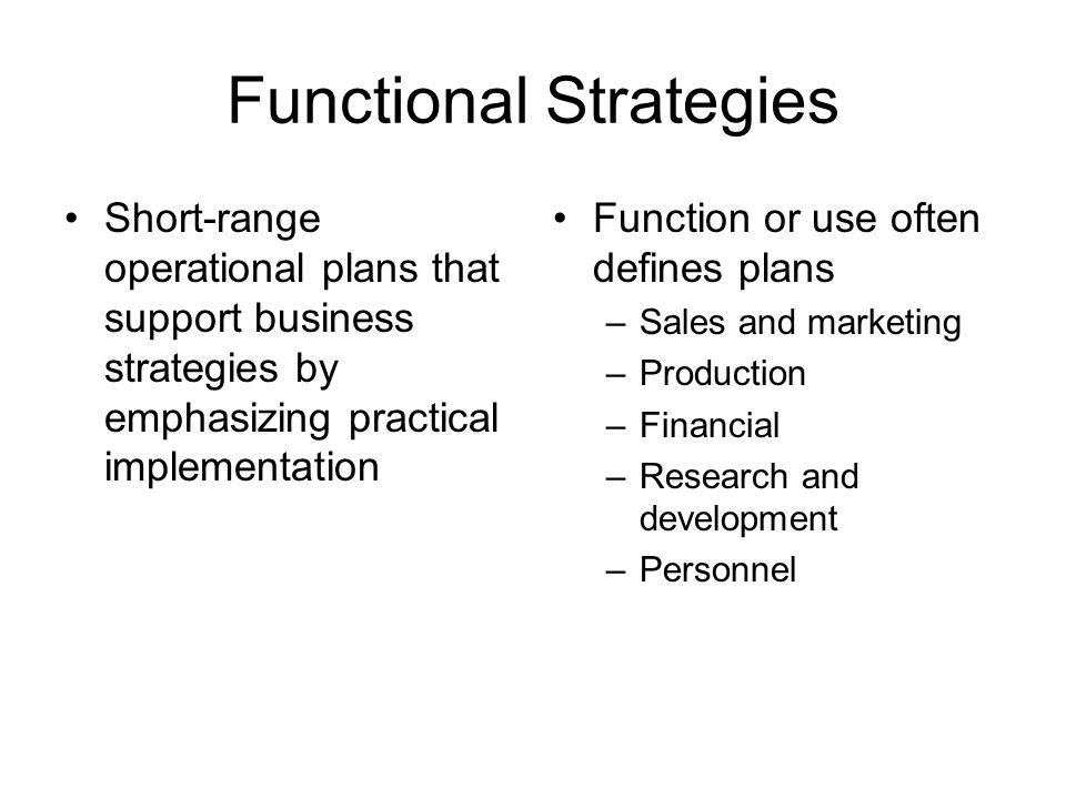 Functional Strategies