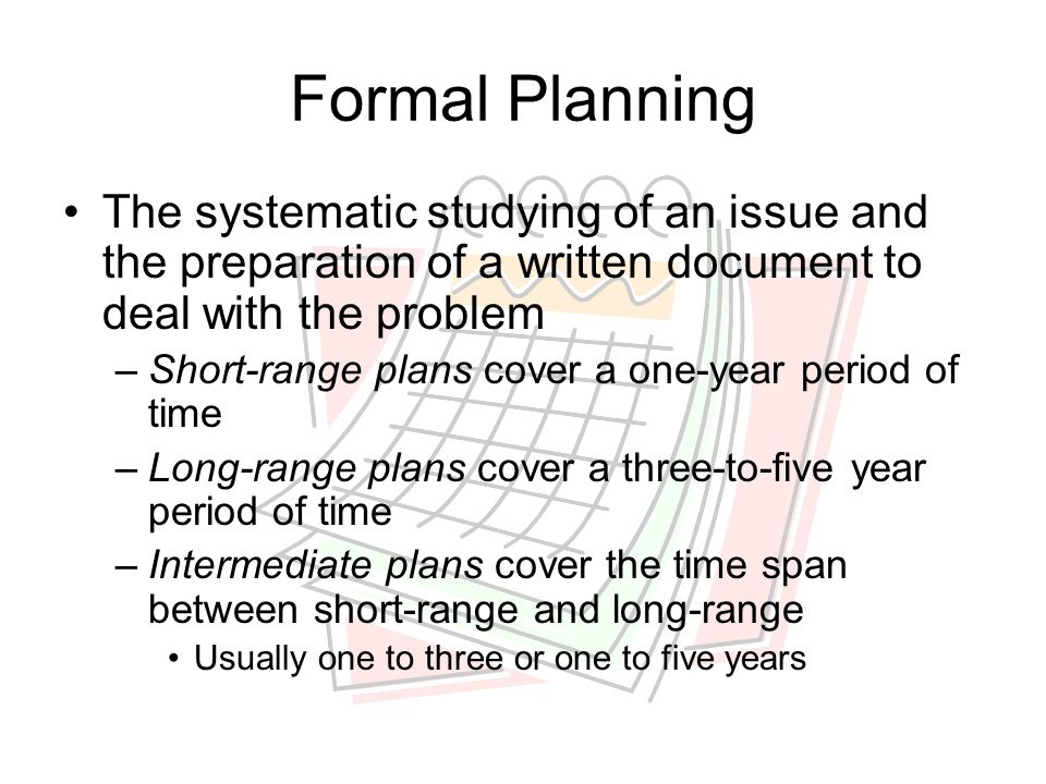 Formal Planning The systematic studying of an issue and the preparation of a written document to deal with the problem.