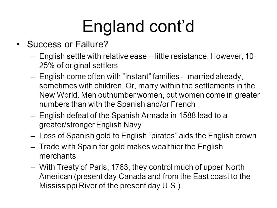 England cont'd Success or Failure