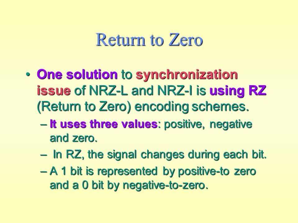 advantages of nrz i and nrz l Ch 3 & 4 study play electromagnetic signals before data can be transmitted, they must be transformed to __ frequency  the idea of rz and the idea of nrz-l are combined into the __ scheme diff manch the idea of rz and the idea of nrz-i are combined into the __ scheme manch and diff manch.