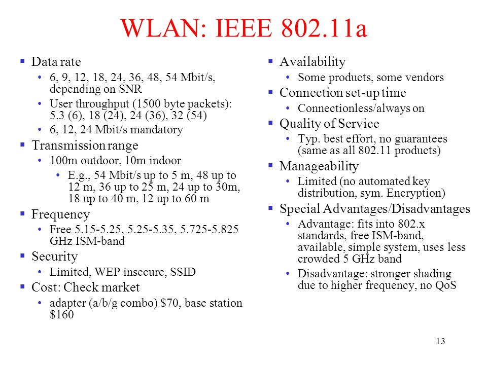 ieee 802 11 advantage and disadvantage The key advantage of ieee 80211 devices is that they allow  less-expensive deployment of local area  one disadvantage of 802.