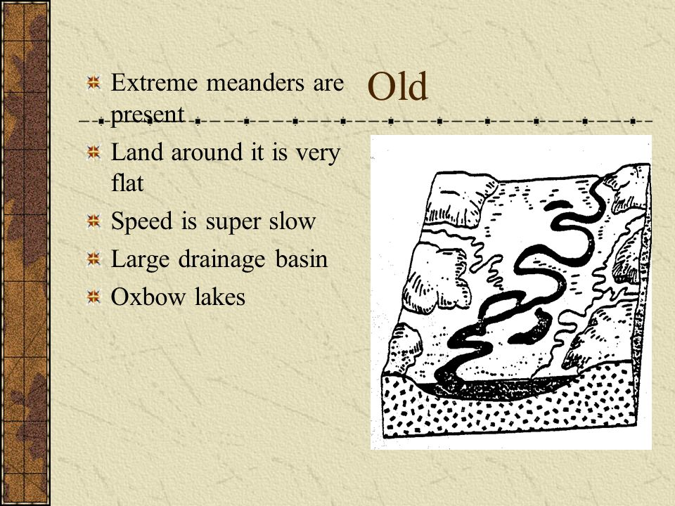 Old Extreme meanders are present Land around it is very flat