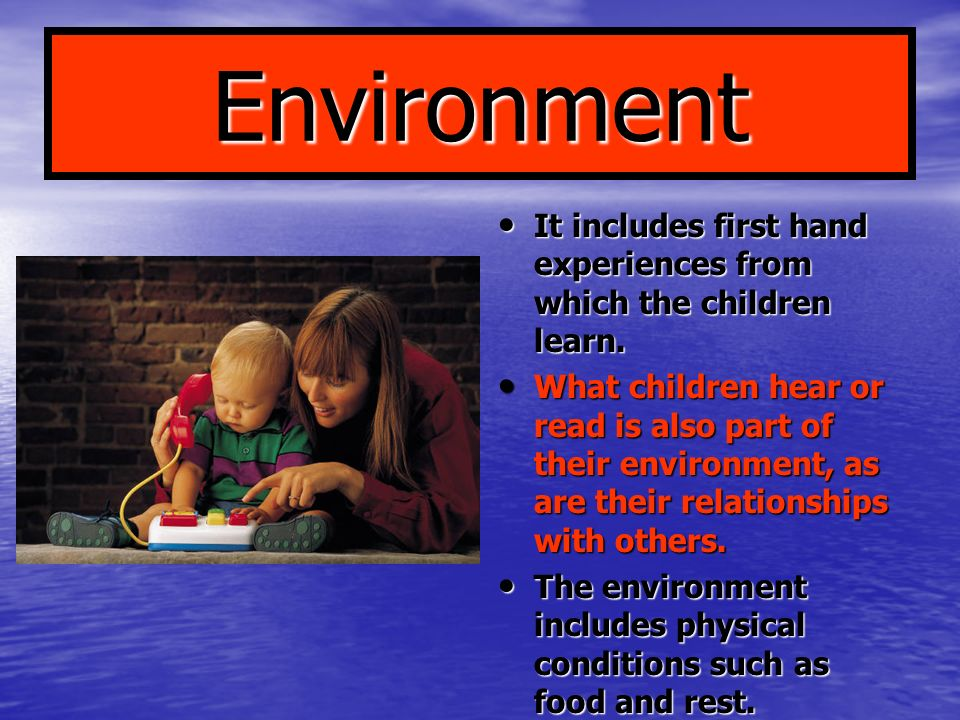 Environment It includes first hand experiences from which the children learn.