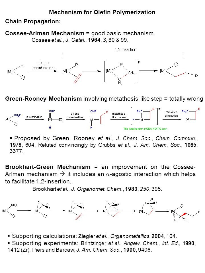 mechanism for olefin polymerization Introduction olefin polymerization is an important petrochemical transformation with billions of tons of production each year after ziegler discovered the original methods for catalytic growth of olefin chains, the majority of research efforts have focused on the use of transition metal (tm) catalysts to drive these transformations.