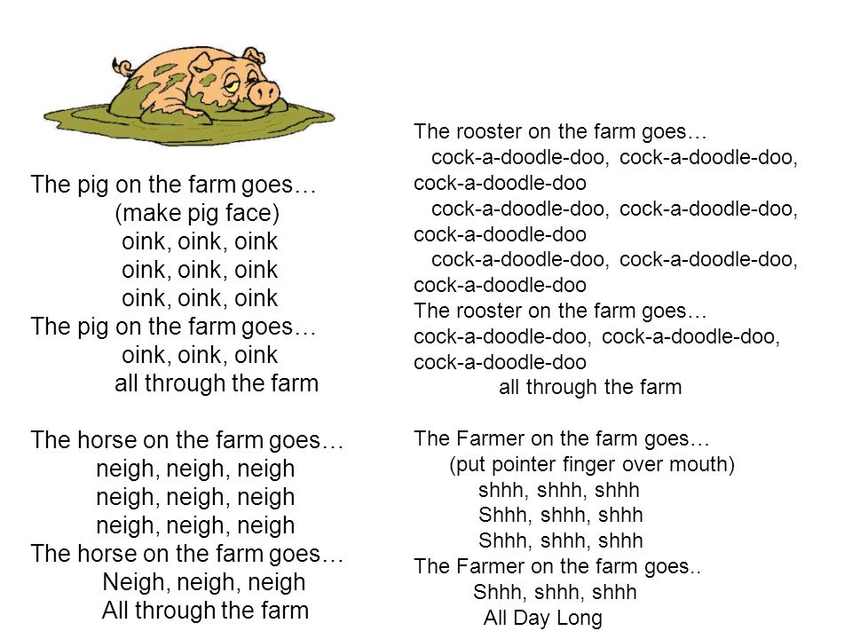 The pig on the farm goes… (make pig face) oink, oink, oink