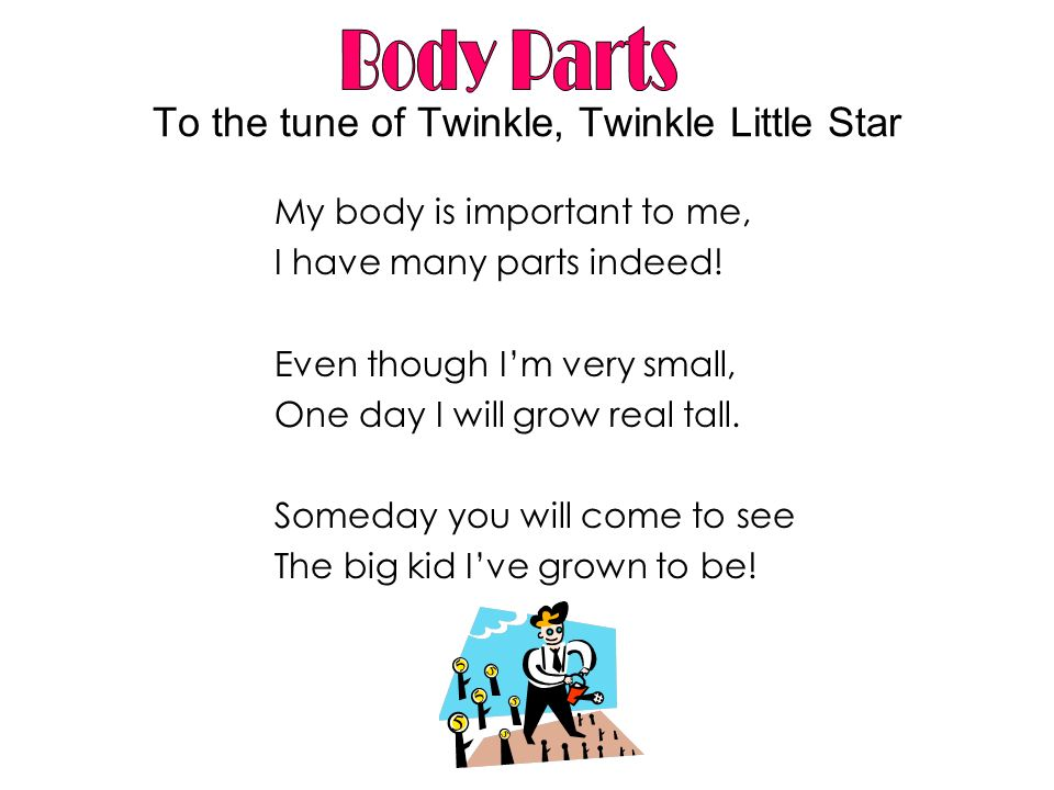 To the tune of Twinkle, Twinkle Little Star