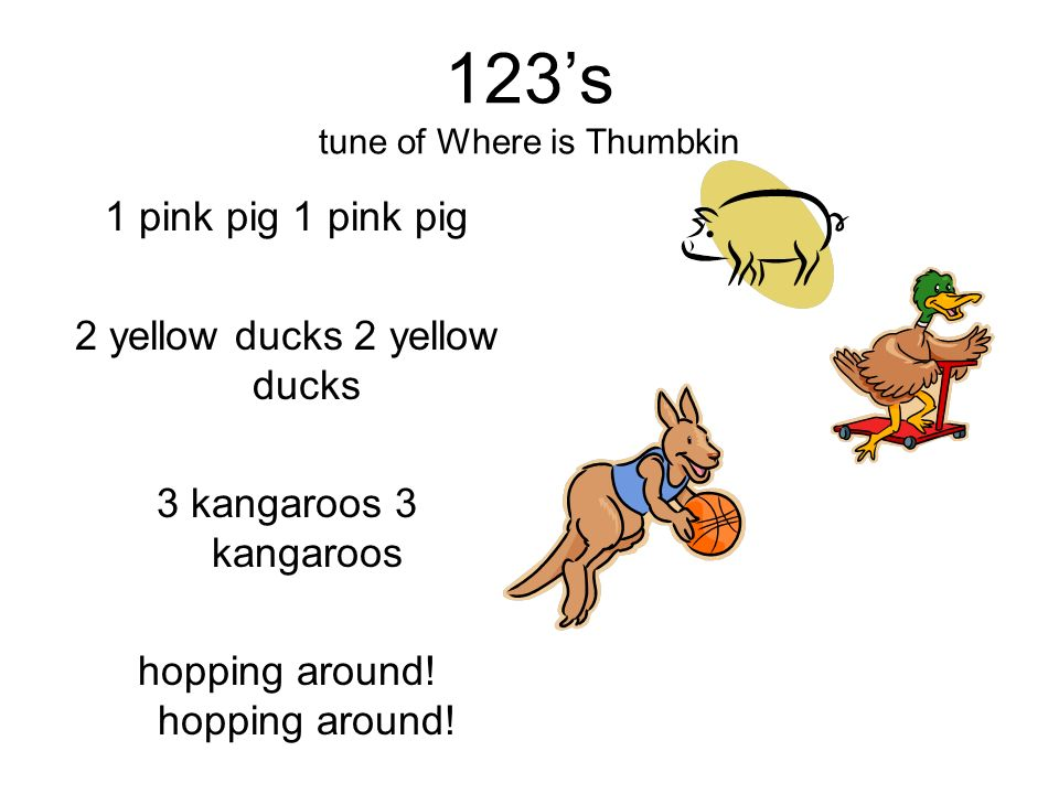 123's tune of Where is Thumbkin