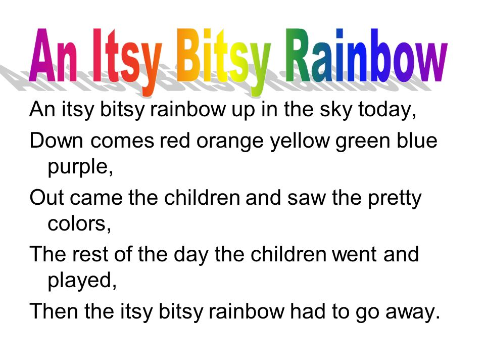 An Itsy Bitsy Rainbow An itsy bitsy rainbow up in the sky today,